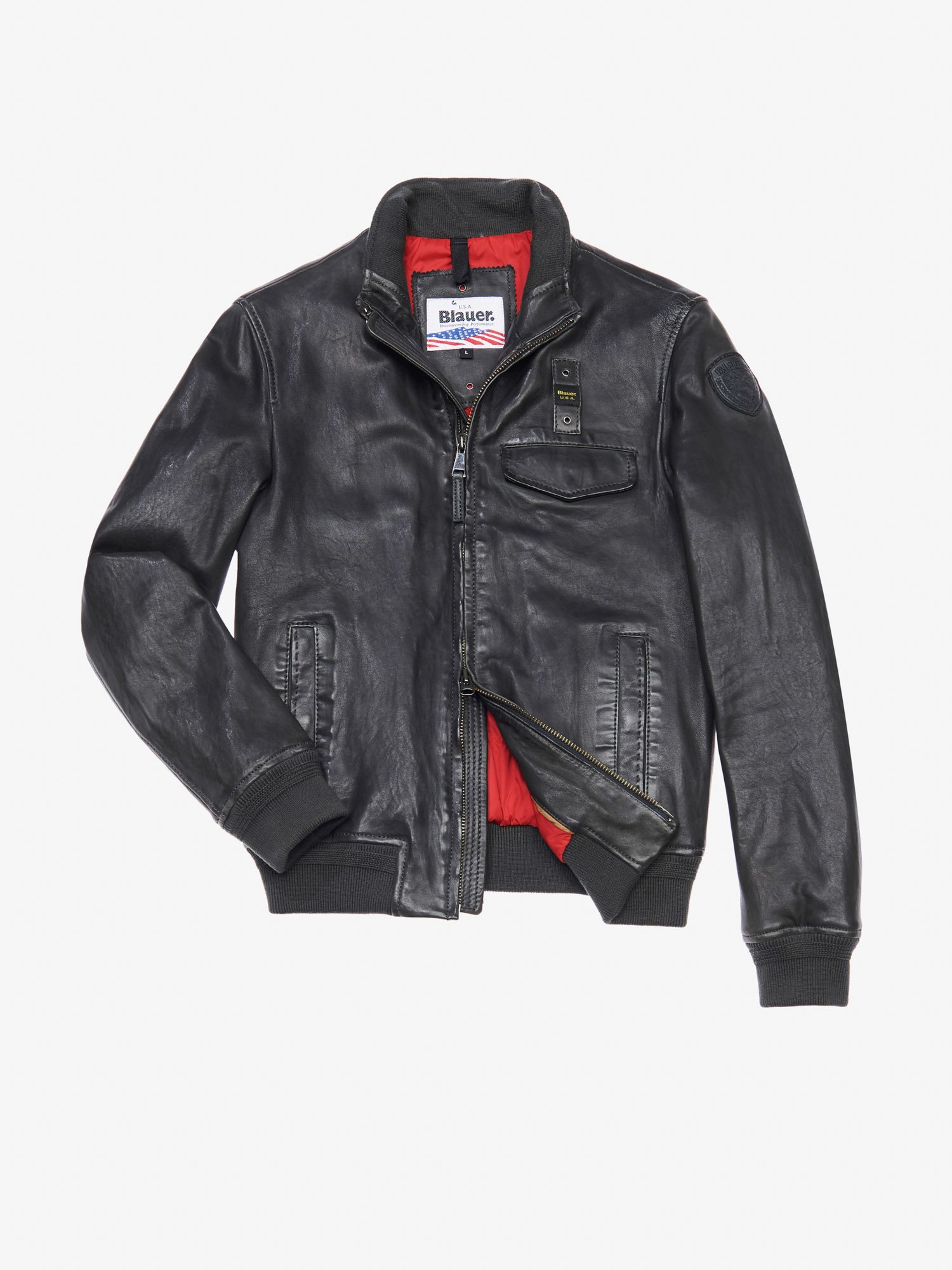 GIORGIO PADDED LEATHER BOMBER JACKET - Blauer