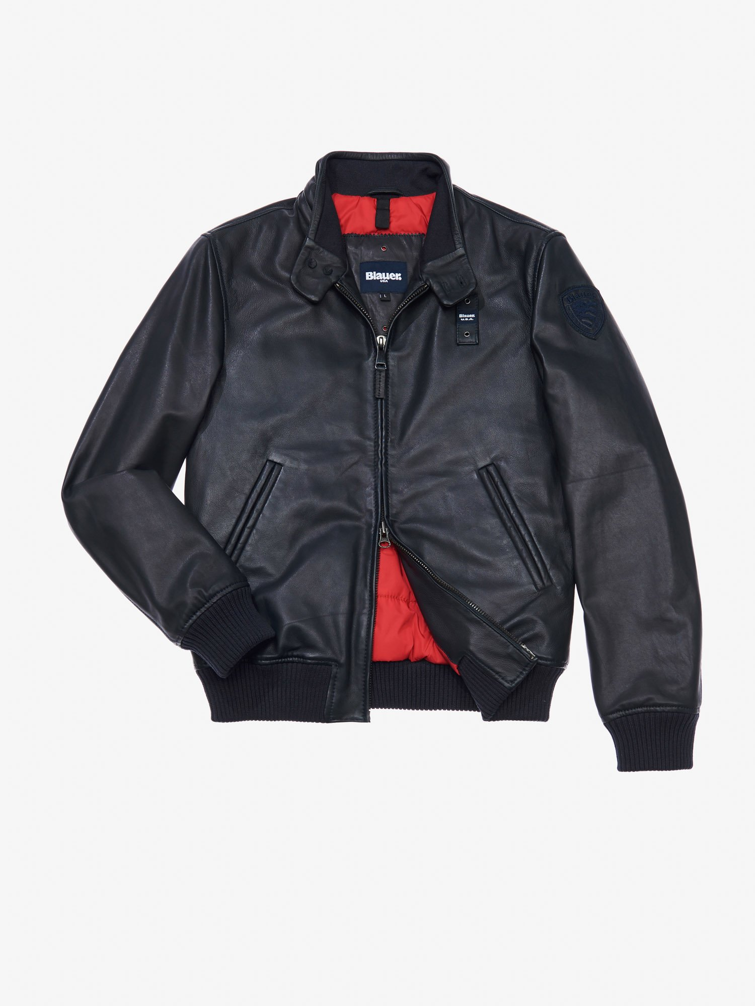 ENRICO PADDED LEATHER BOMBER JACKET - Blauer