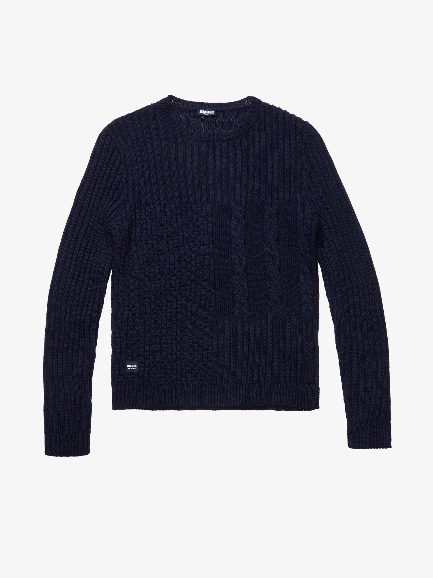 Blauer - CREW NECK WOOL-BLEND SWEATER - blue - Blauer