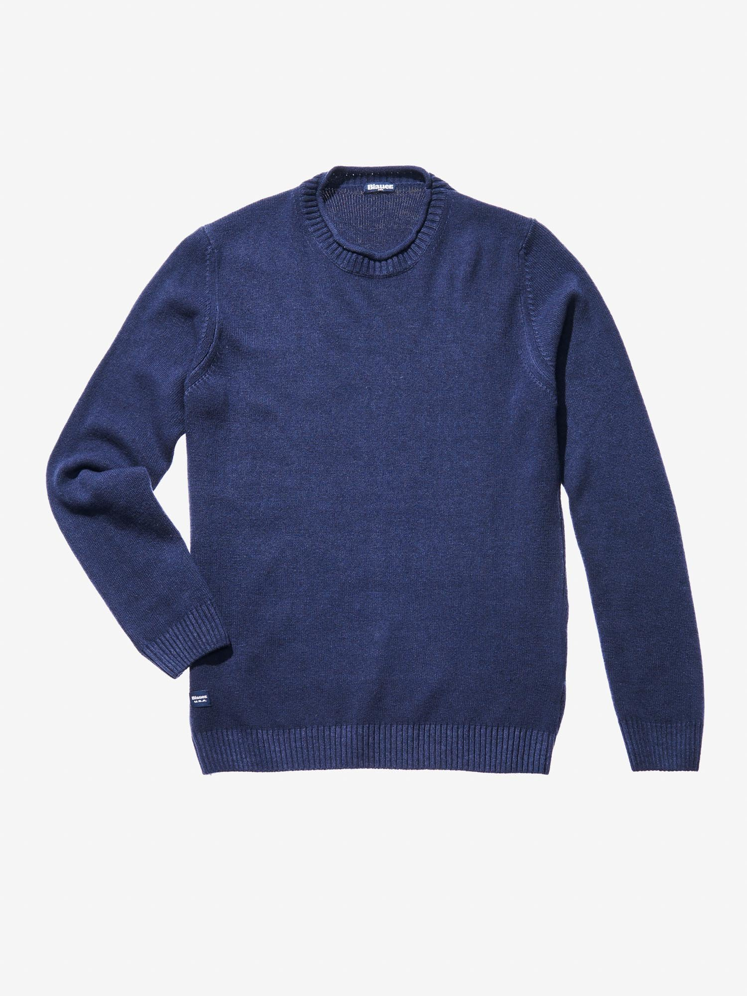 CREW NECK GARMENT DYED WOOL-BLEND SWEATER - Blauer