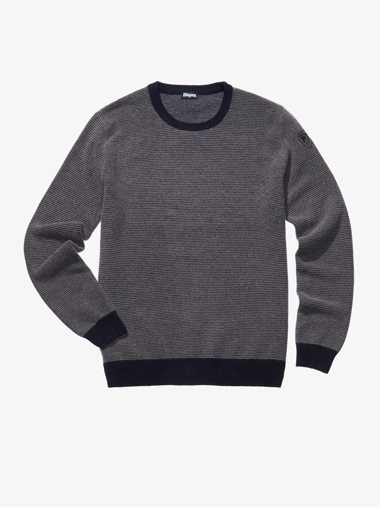 Blauer - WOOL-BLEND STOCKING STITCH SWEATER - Granite Grey - Blauer