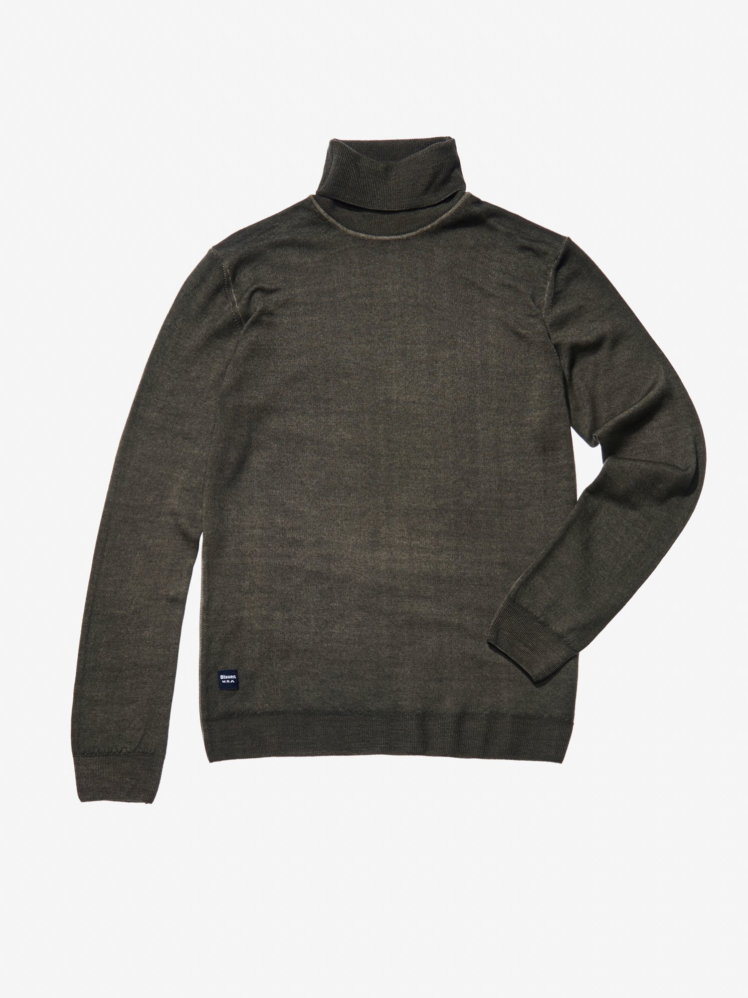Blauer - STOCKING STITCH KNIT WOOL TURTLENECK - Barley Coffe - Blauer