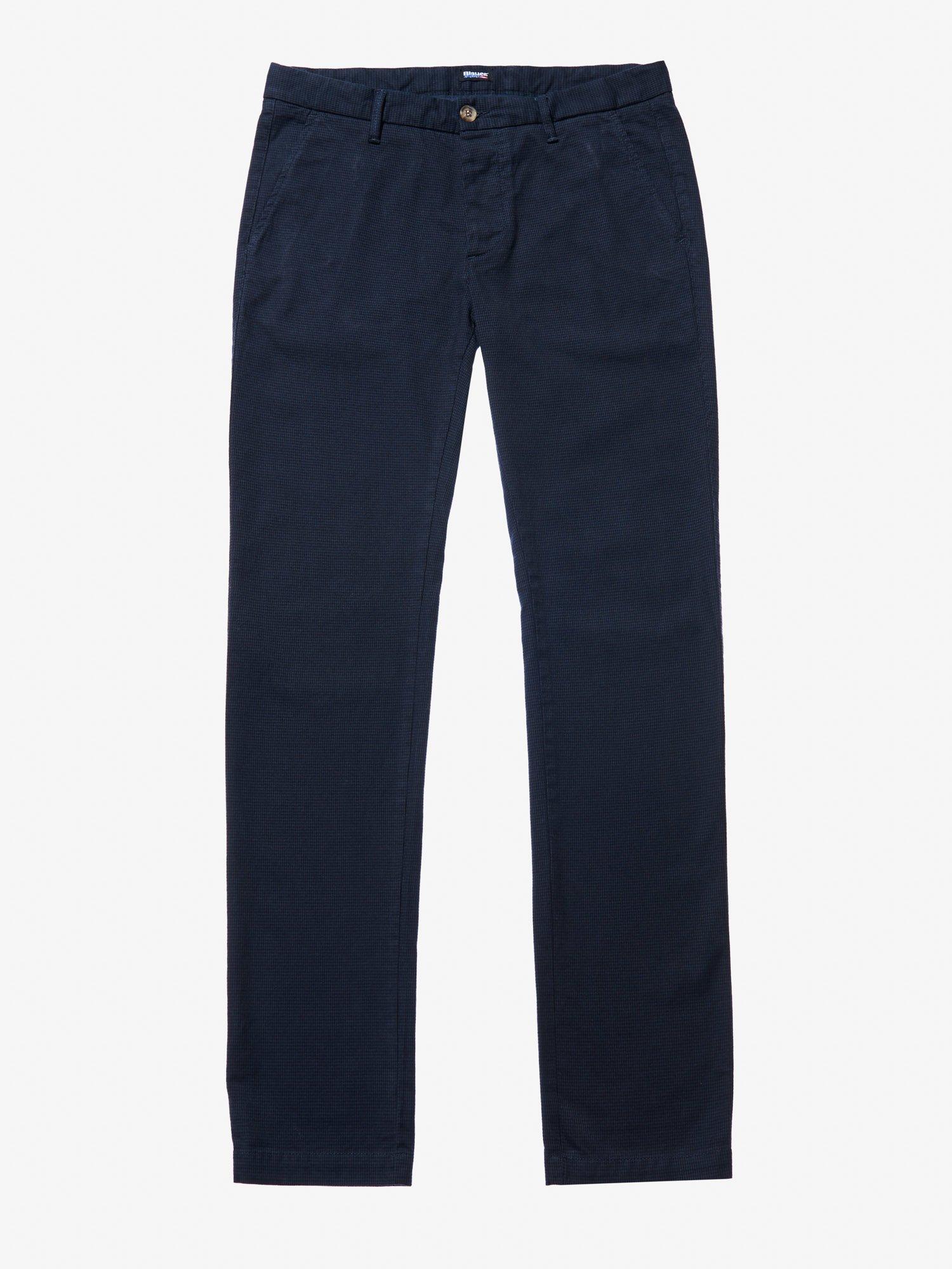 Blauer - HOUNDSTOOTH GABARDINE PANTS - Blue Sapphire - Blauer