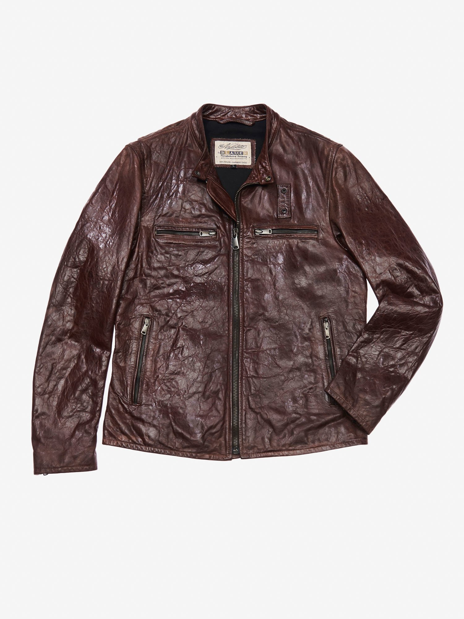 DISTRESSED MOTORCYCLE LEATHER JACKET - Blauer