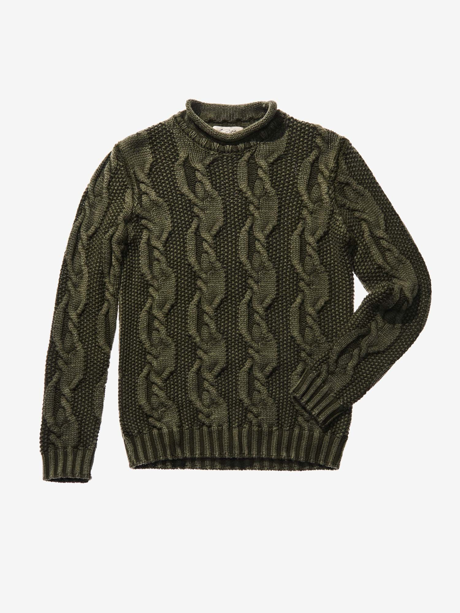 Blauer - CHUNKY CABLE KNIT JUMPER IN KHAKI - OLIVE GREEN - Blauer