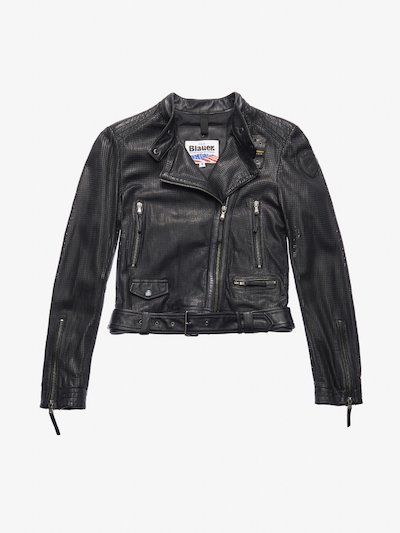 MOORE PERFORATED BIKER-STYLE JACKET