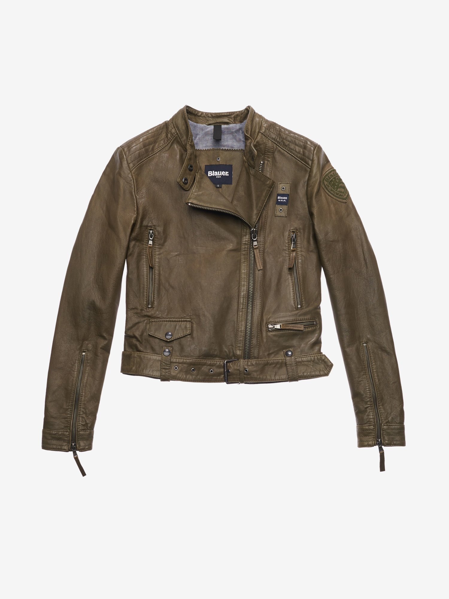 Blauer - RODRIGUEZ USED-EFFECT JACKET - Dark Green - Blauer
