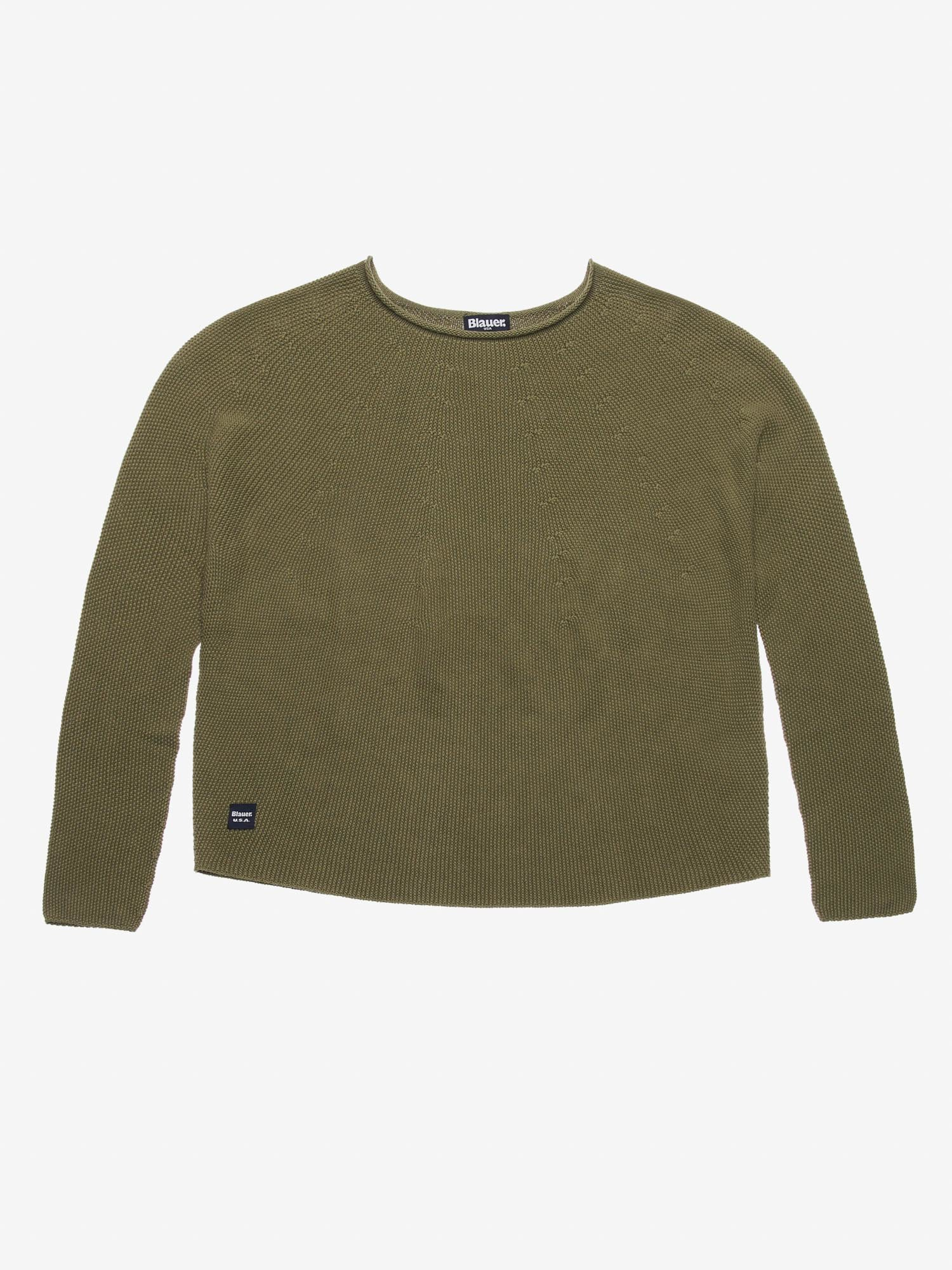 Blauer - SHORT CREW NECK SWEATER - Dark Green - Blauer