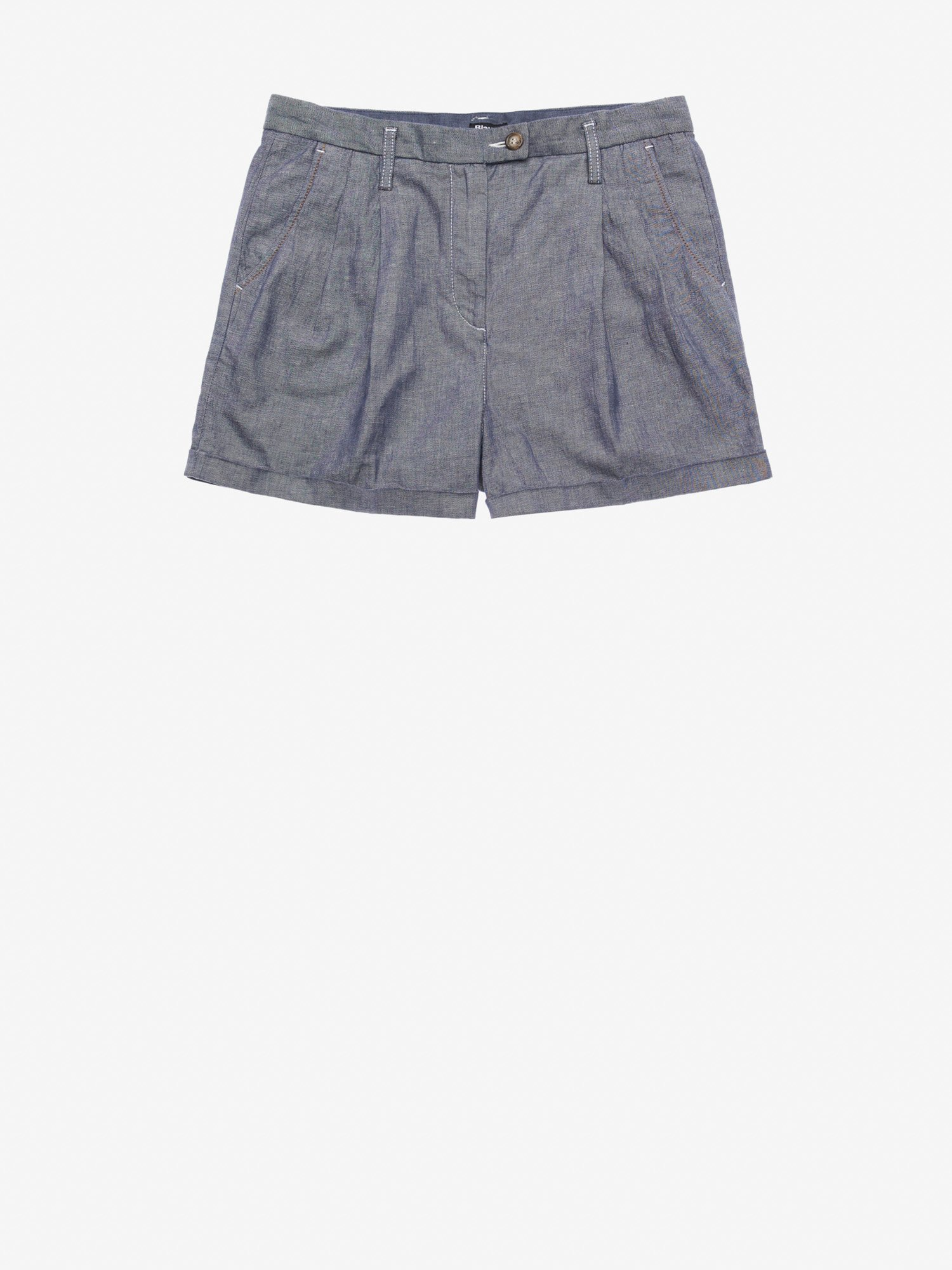 Blauer - WOMEN'S STRETCH COTTON LINEN SHORTS - blue - Blauer