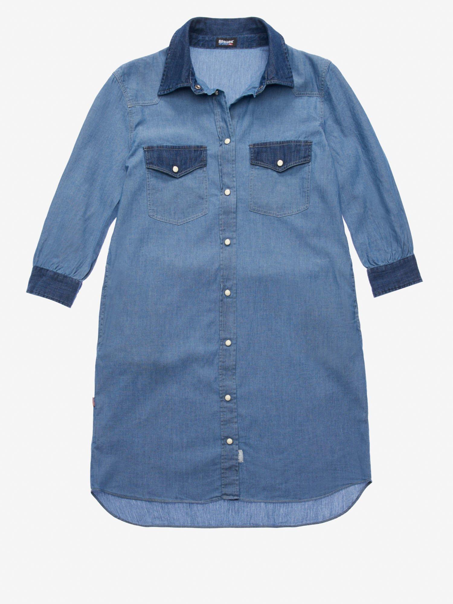 Blauer - CHAMBRAY AND DENIM DRESS - Blue Ink - Blauer