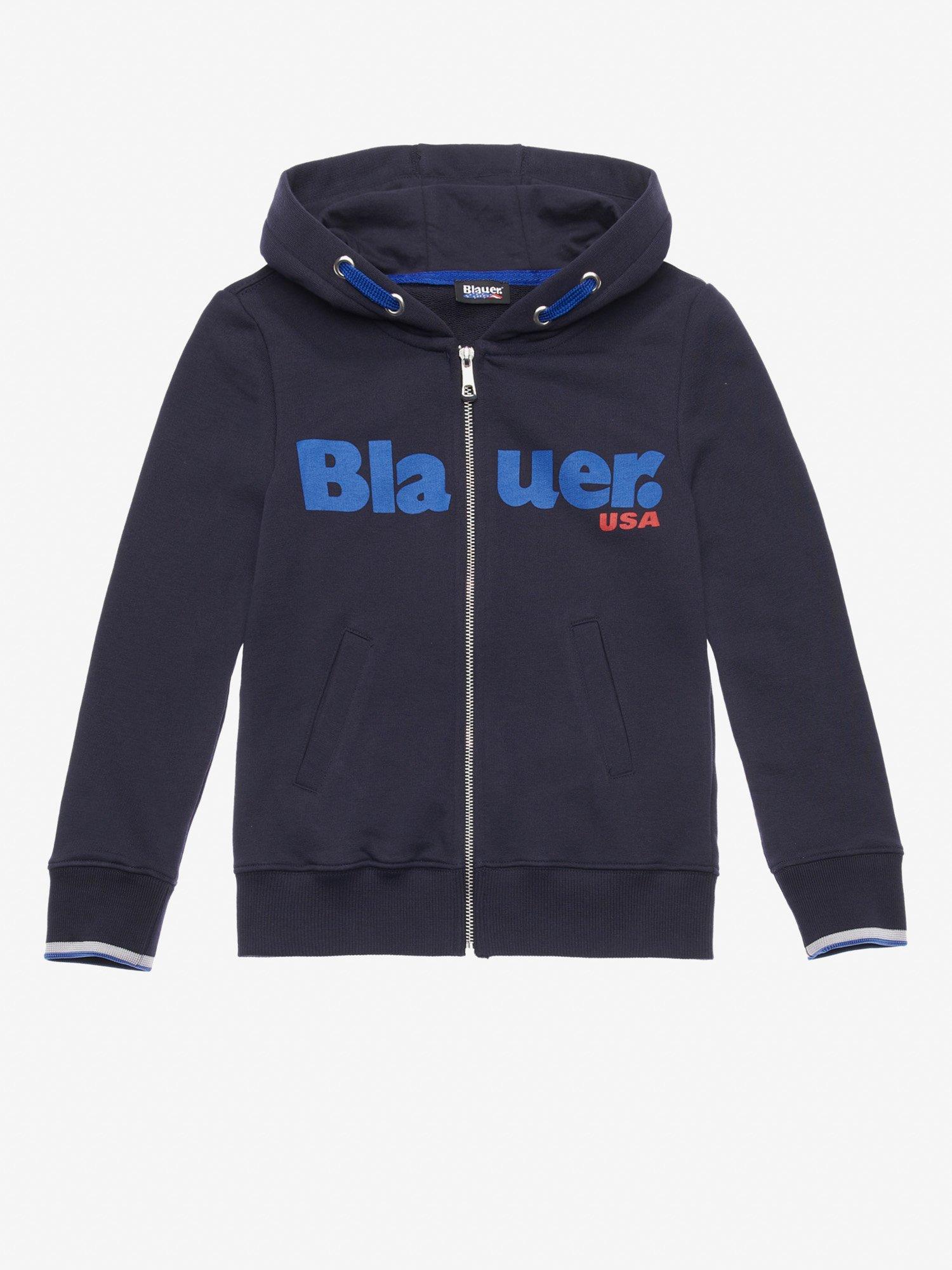 Blauer - FELPA JUNIOR APERTA CON CAPPUCCIO - Blu - Blauer