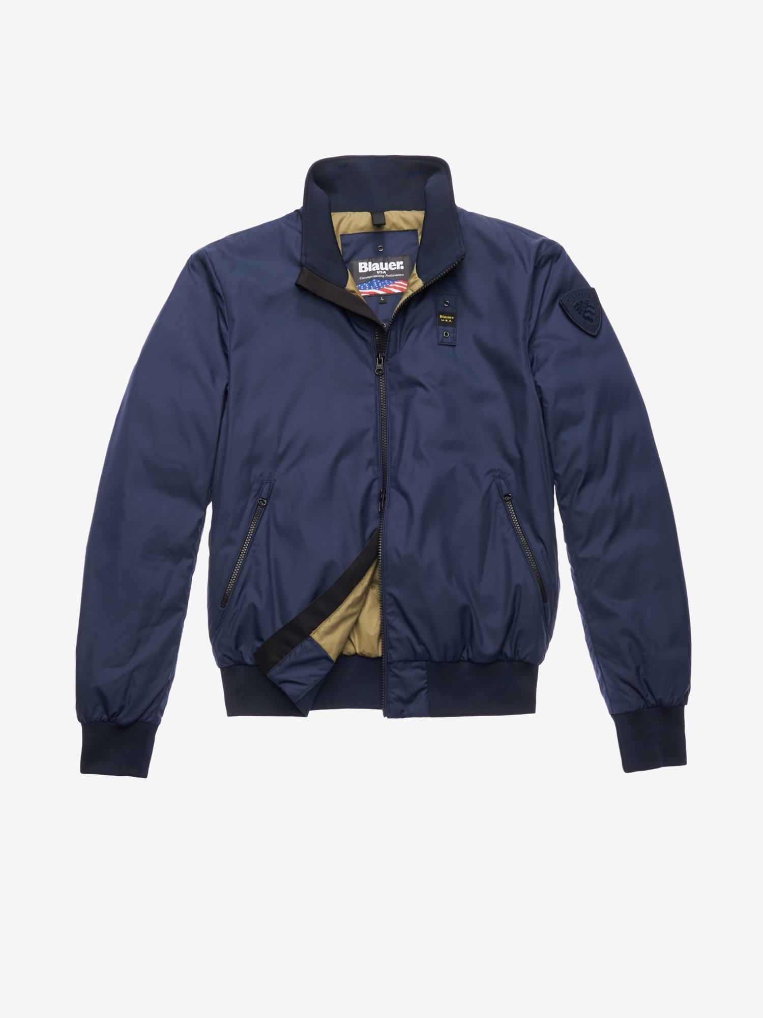 GREEN BOMBER-STYLE DOWN JACKET - Blauer