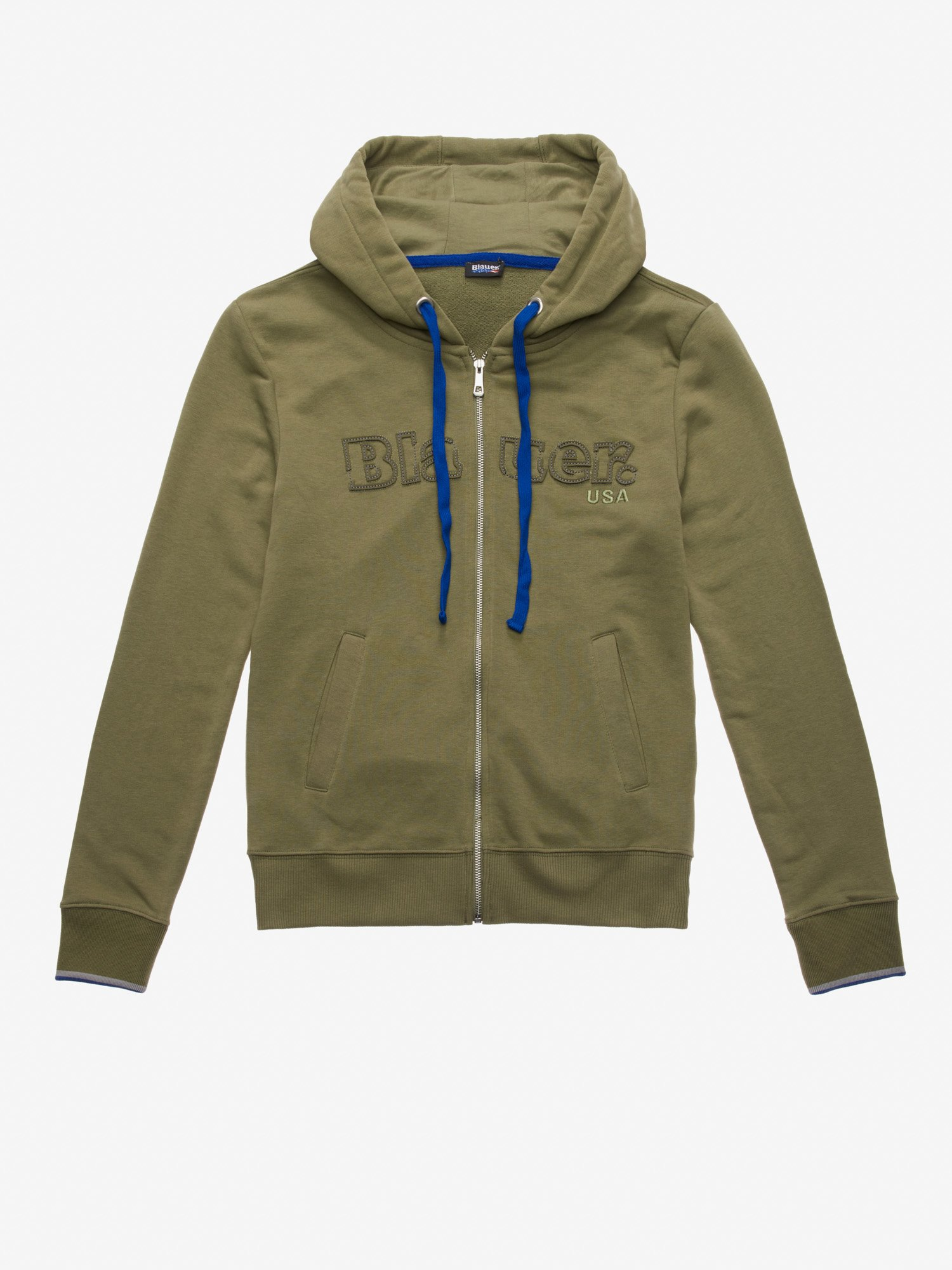 OPEN HOODED SWEATSHIRT WITH BICOLOUR SLEEVE EDGES - Blauer