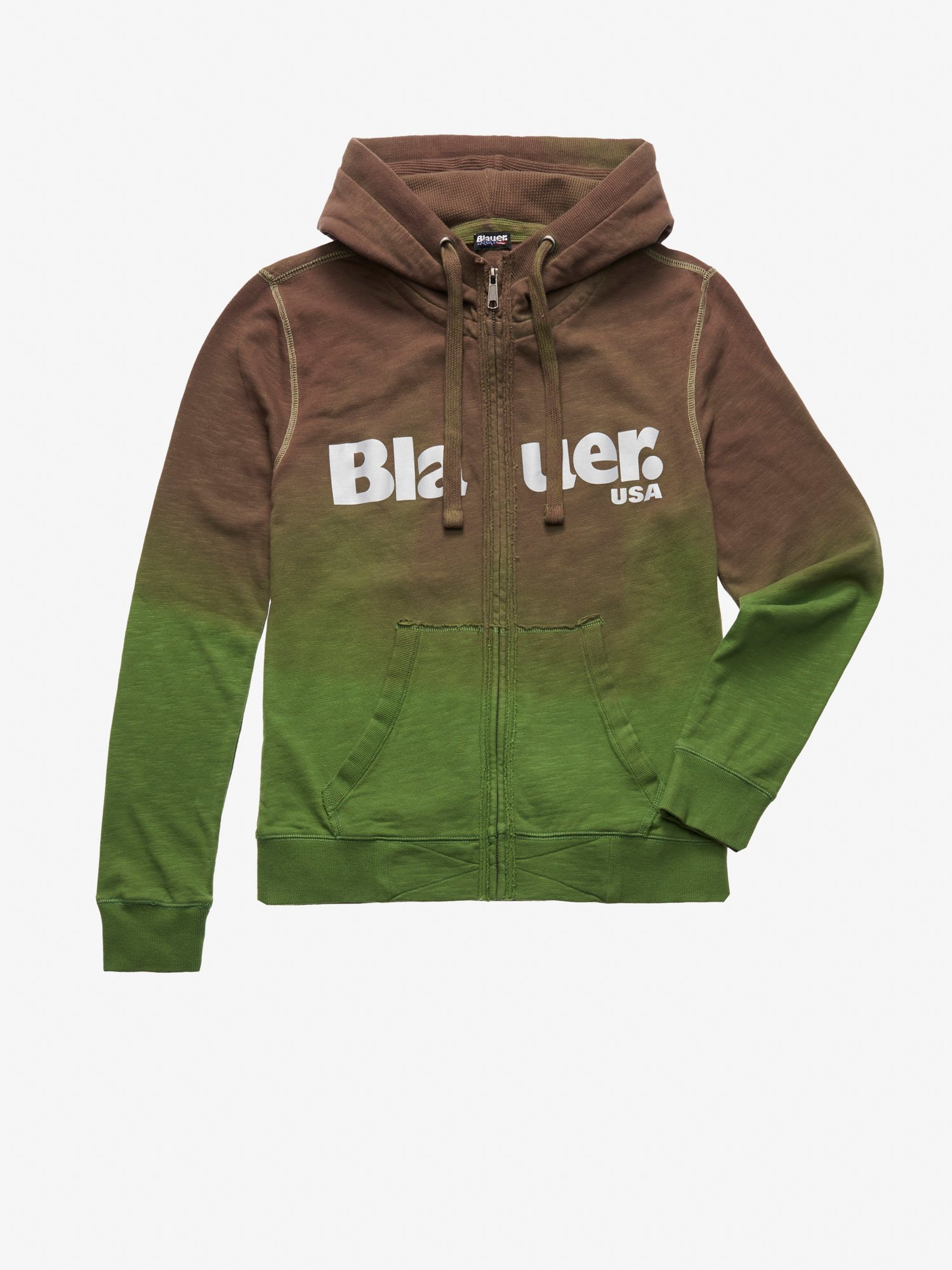 Blauer - OPEN HOODED SHAHED SWEATSHIRT WITH IRIDESCENT PRINT - Dusty Green - Blauer