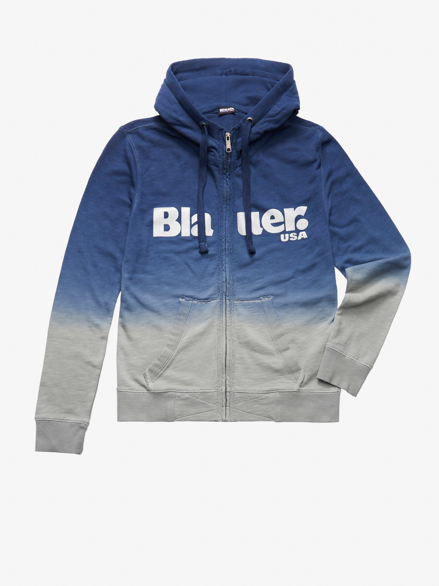 Blauer - OPEN HOODED SHAHED SWEATSHIRT WITH IRIDESCENT PRINT - Blue Ink - Blauer