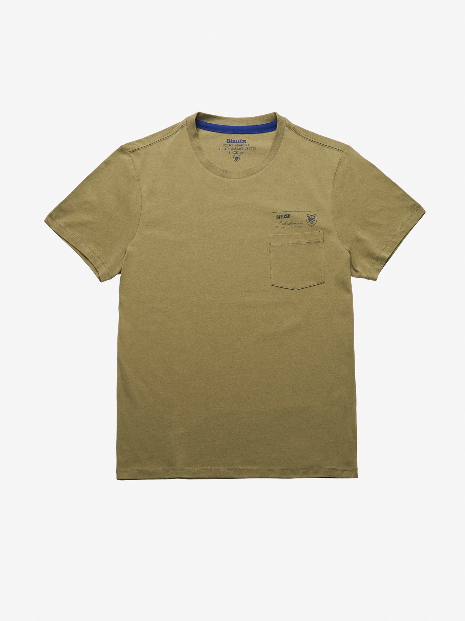 Blauer - MEN'S POCKET T-SHIRT - Dusty Green - Blauer