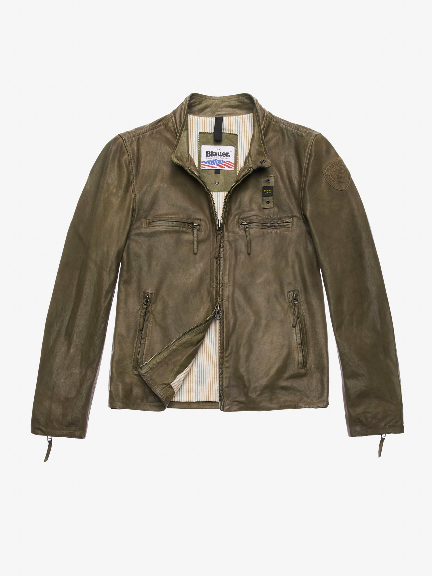 Blauer - JOHNSON DIRTY-EFFECT LEATHER JACKET - Dusty Green - Blauer