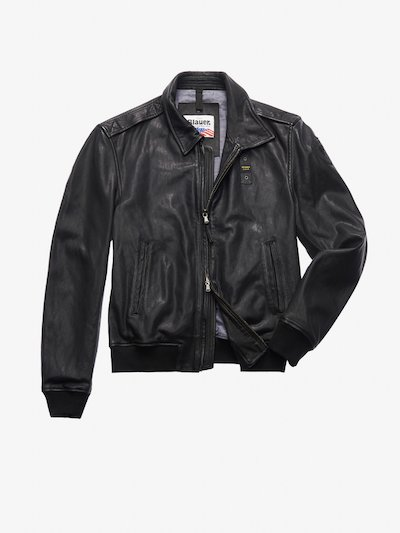 SMITH LEATHER BOMBER-STYLE JACKET WITH COLLAR