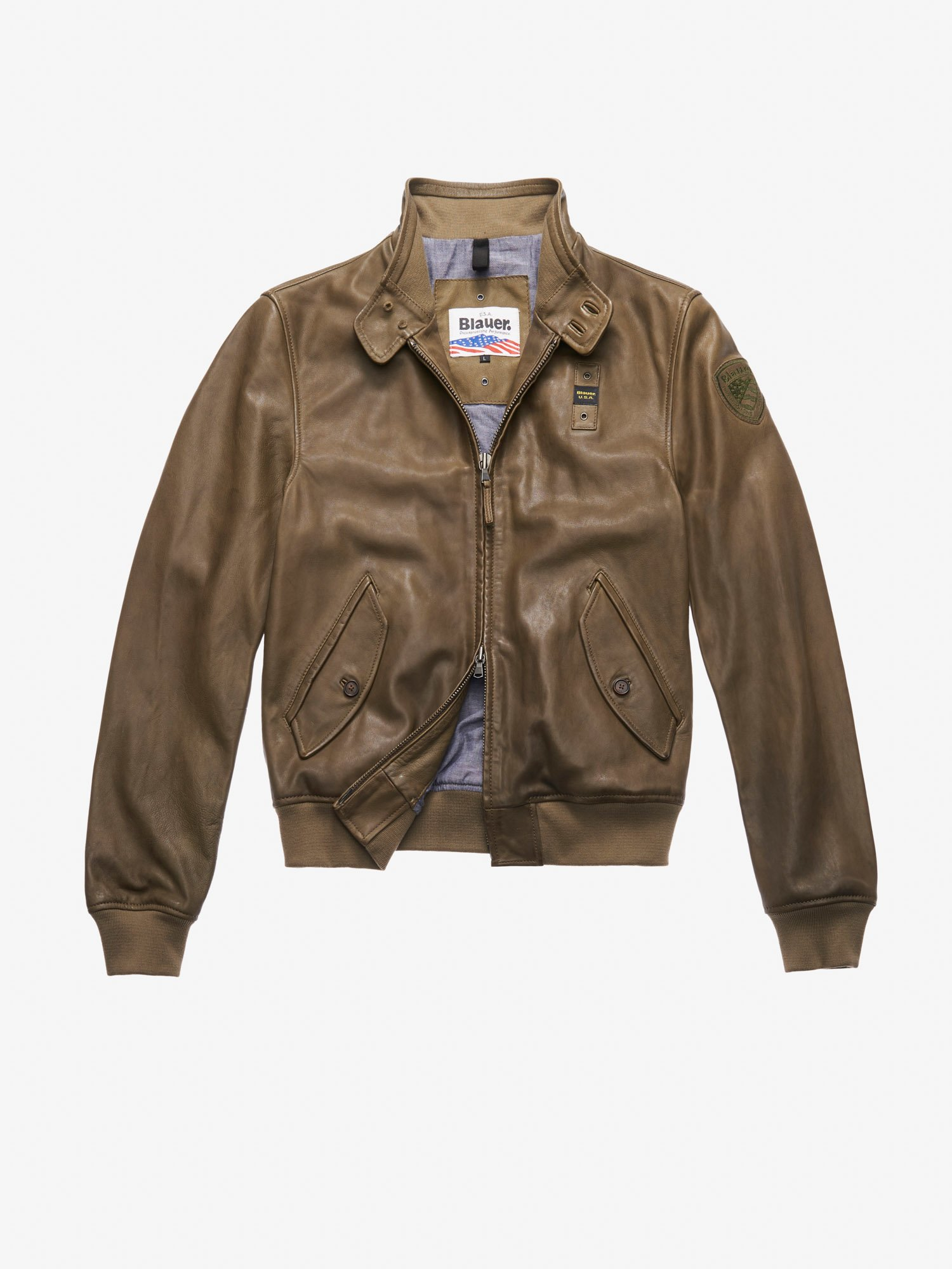 Blauer - BOMBER DE PIEL CON CUELLO WILLIAMS - Dark Green - Blauer