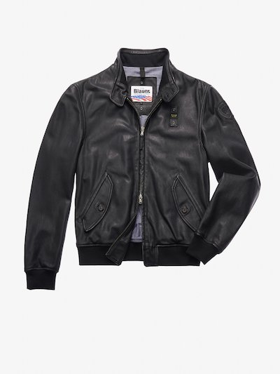 WILLIAMS LEATHER BOMBER-STYLE JACKET WITH COLLAR