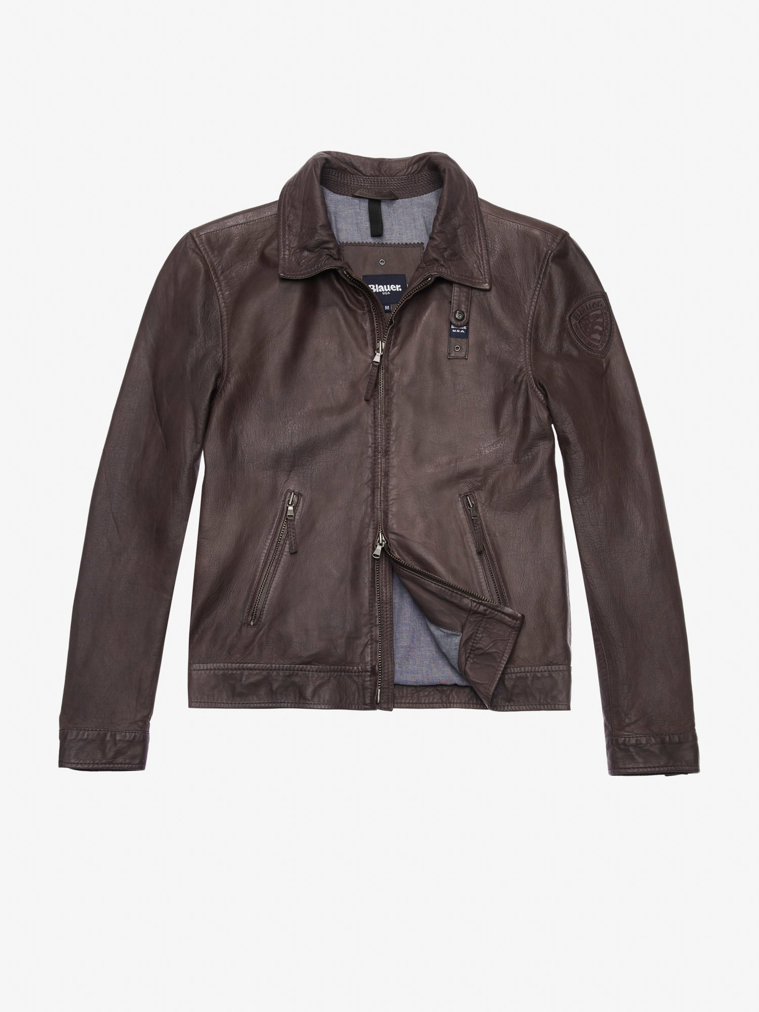 JACKSON GARMENT DYED LEATHER JACKET - Blauer