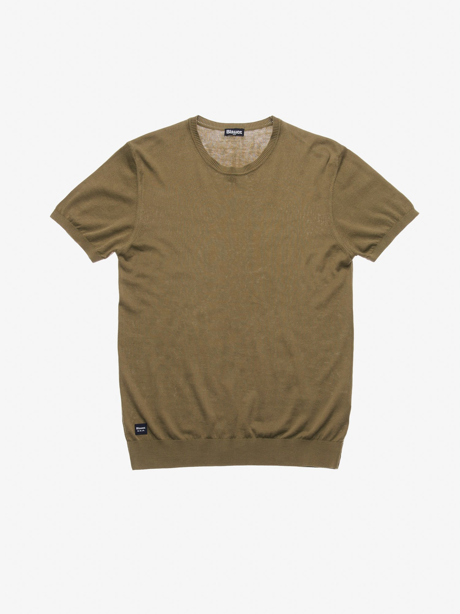 Blauer - SHORT SLEEVE CREW NECK SWEATER - Dusty Green - Blauer