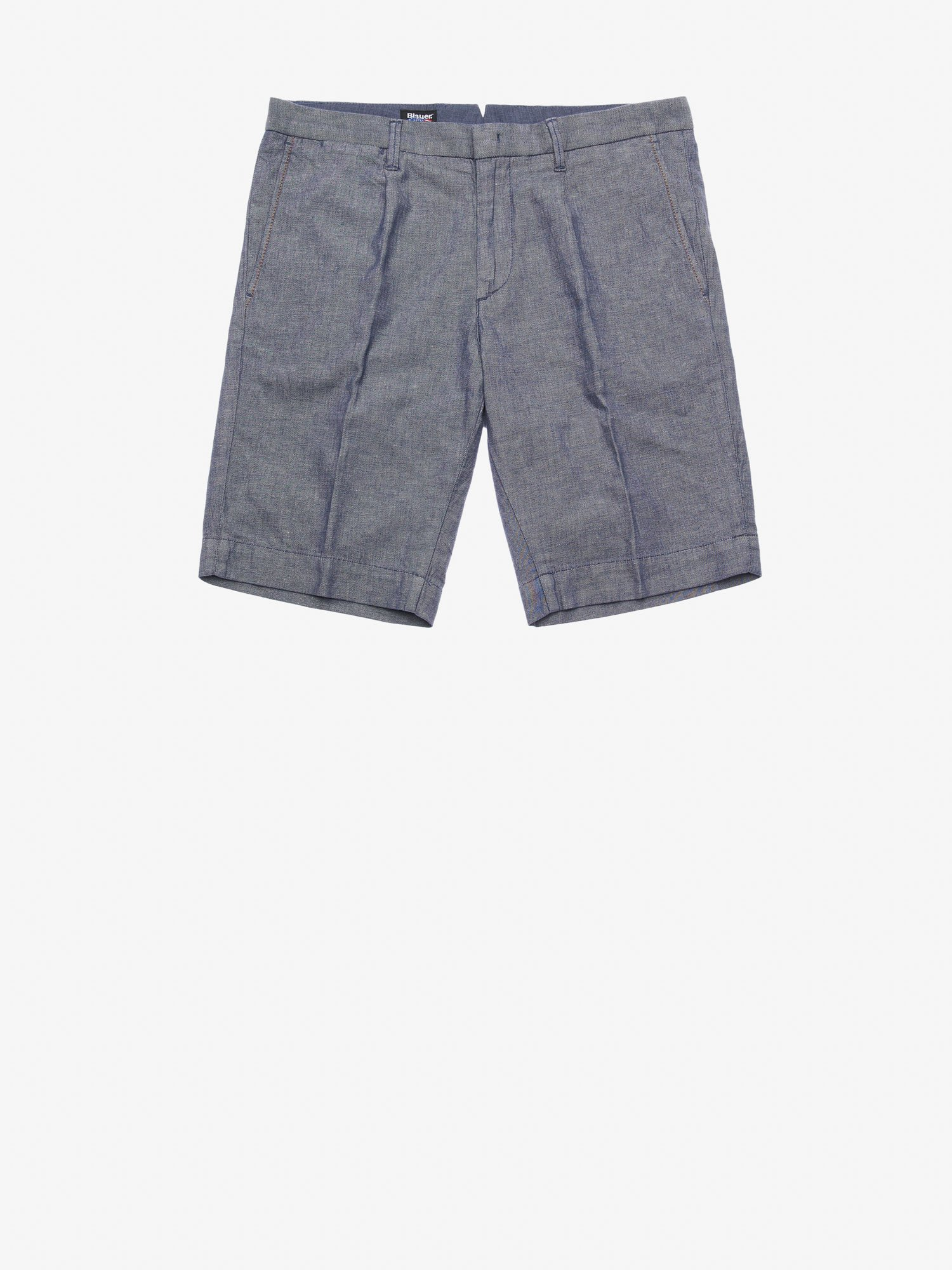STRETCH COTTON AND LINEN BERMUDA SHORTS - Blauer