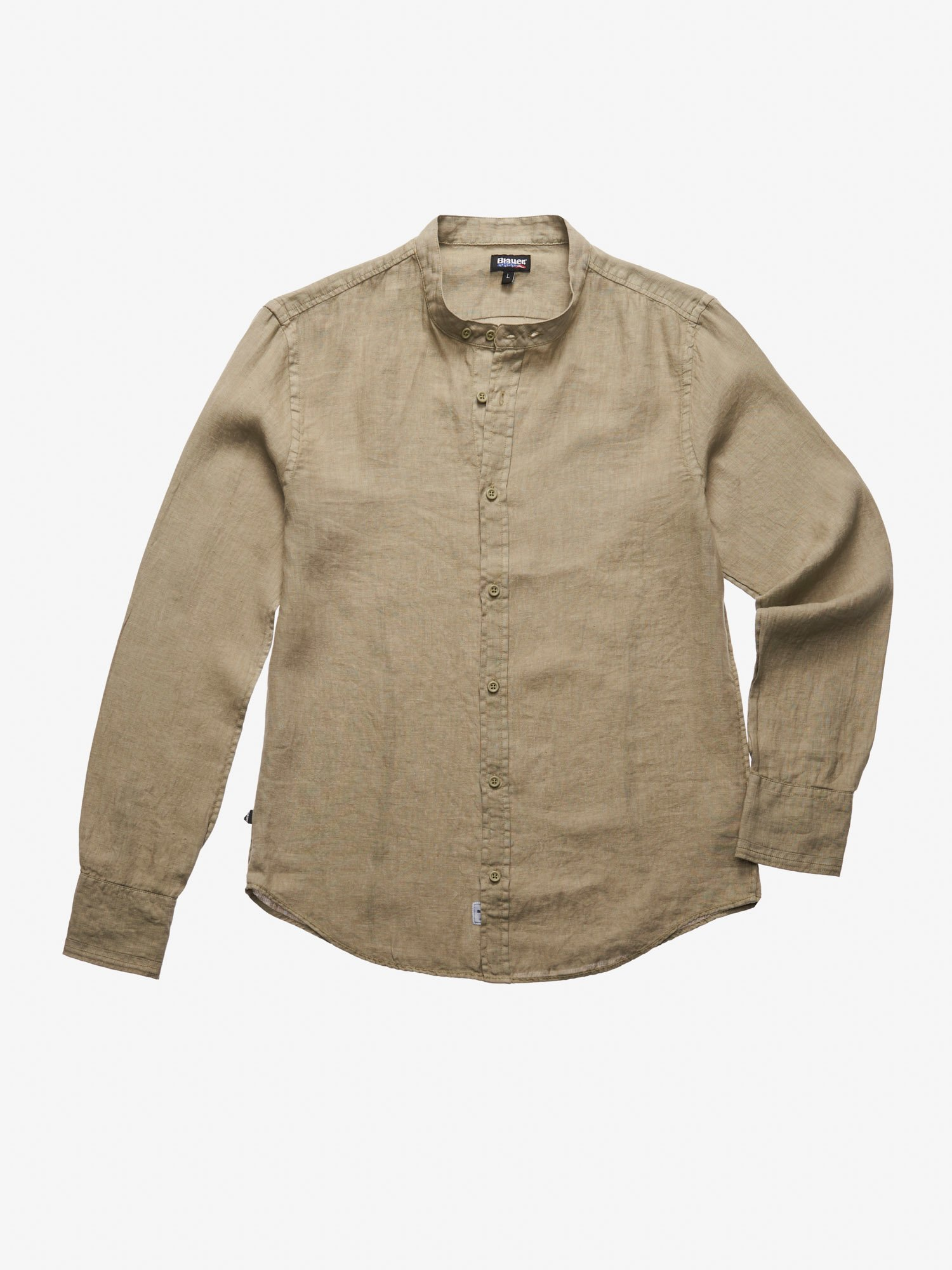 STAND-UP COLLAR LINEN SHIRT - Blauer