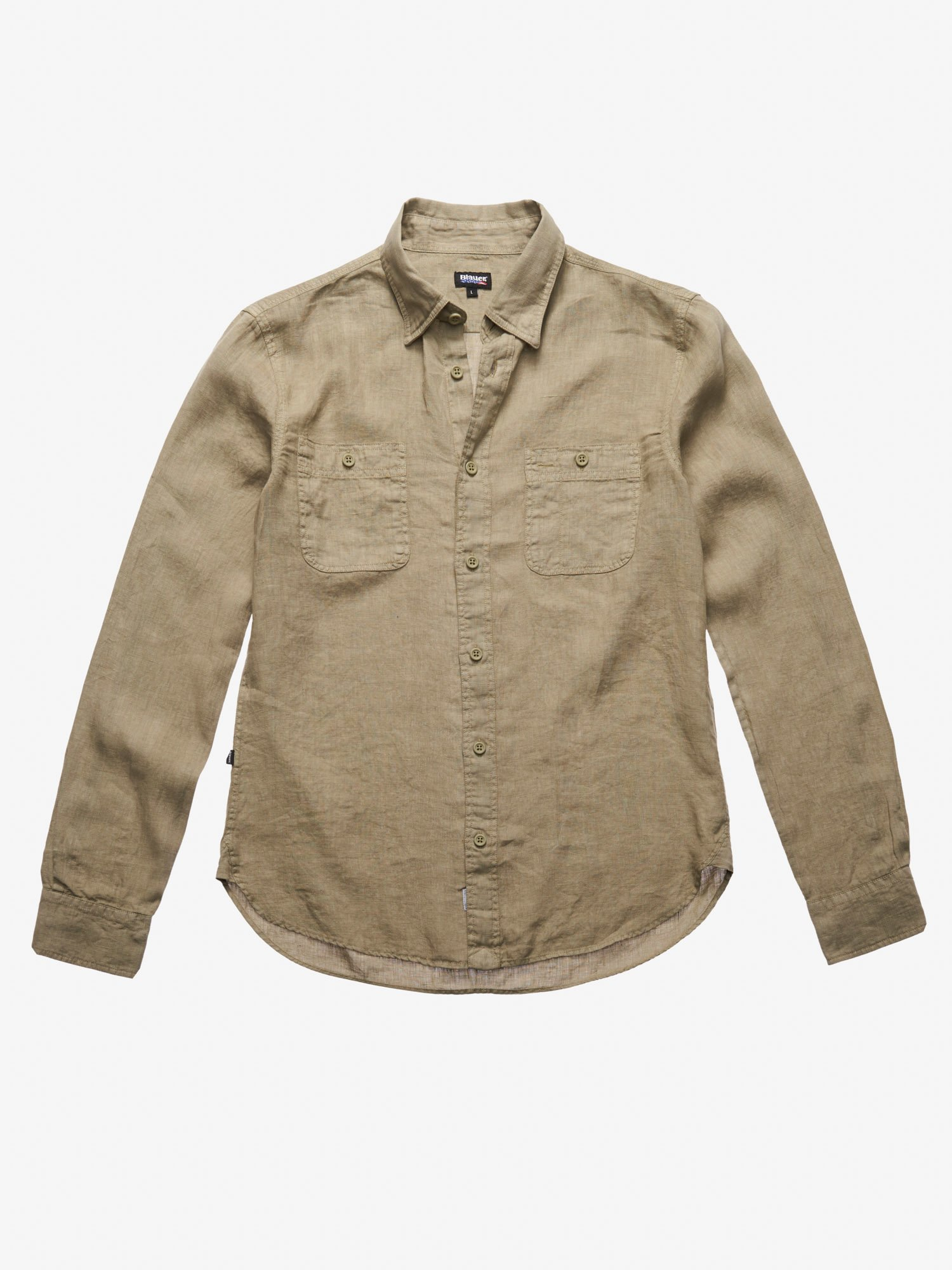 Blauer - MILITARY LINEN SHIRT - Dusty Green - Blauer