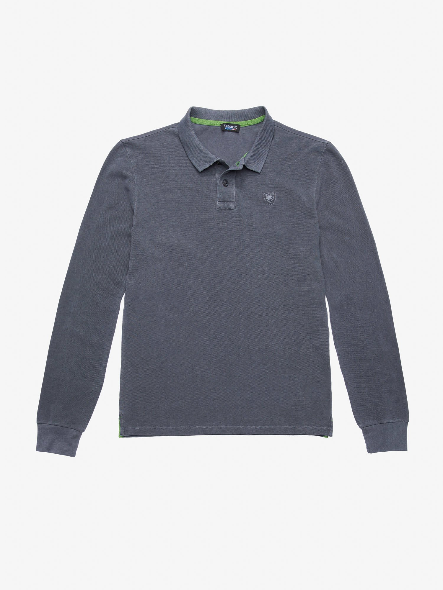 Blauer - LONG SLEEVE GARMENT DYED COTTON POLO SHIRT - Smoke Grey - Blauer