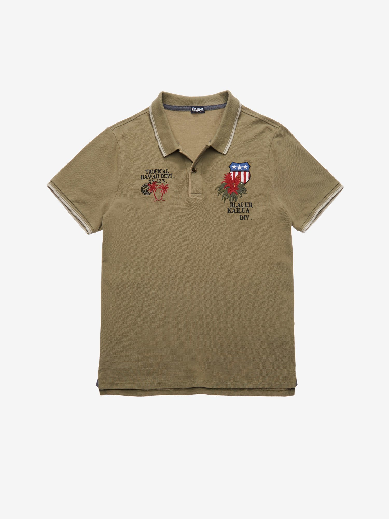 Blauer - TROPICAL HAWAII POLO SHIRT - Dusty Green - Blauer
