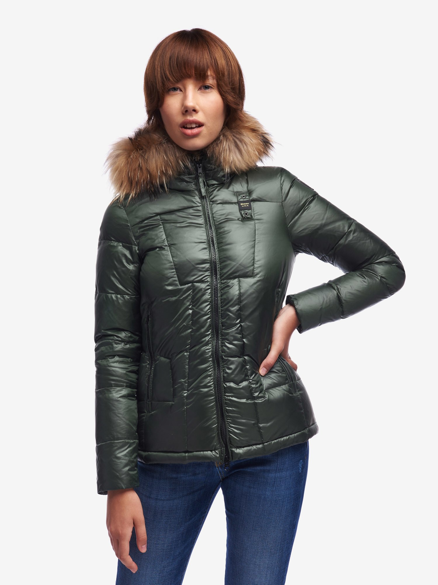 Blauer - HARPER DOWN JACKET WITH FUR - Bottle Green - Blauer