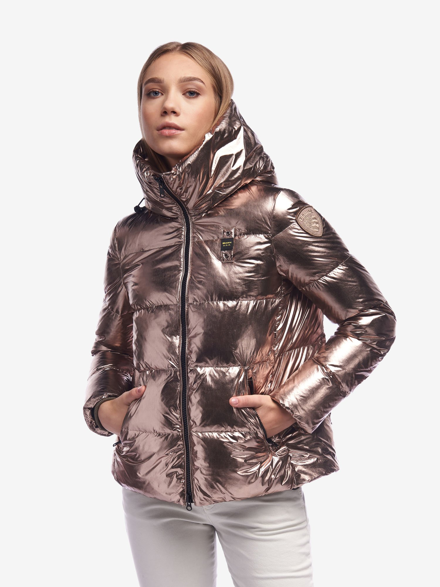 RYAN SHINY METALLIC DOWN JACKET WITH HOOD - Blauer