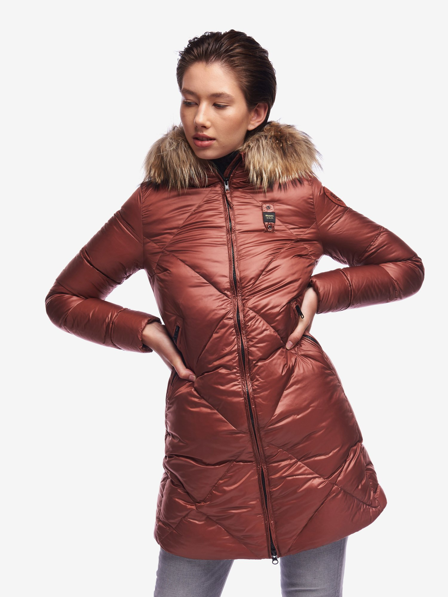 CUNNINGHAM LONG DOWN JACKET IN IRIDESCENT NYLON - Blauer