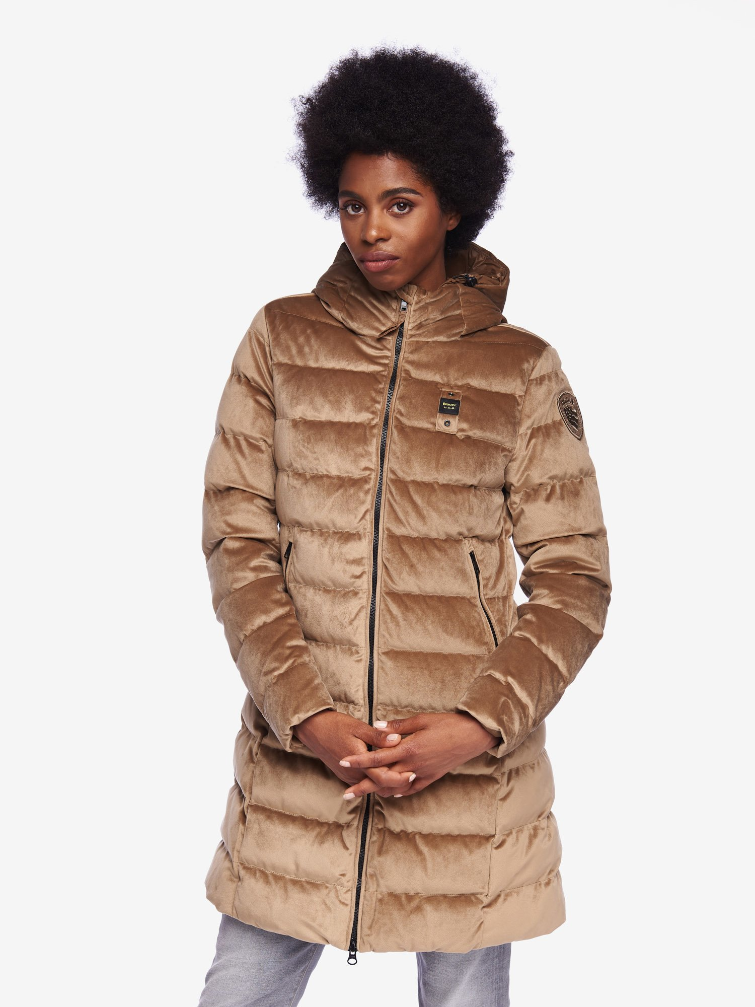 FISHER VELVETY LONG DOWN JACKET WITH HOOD - Blauer