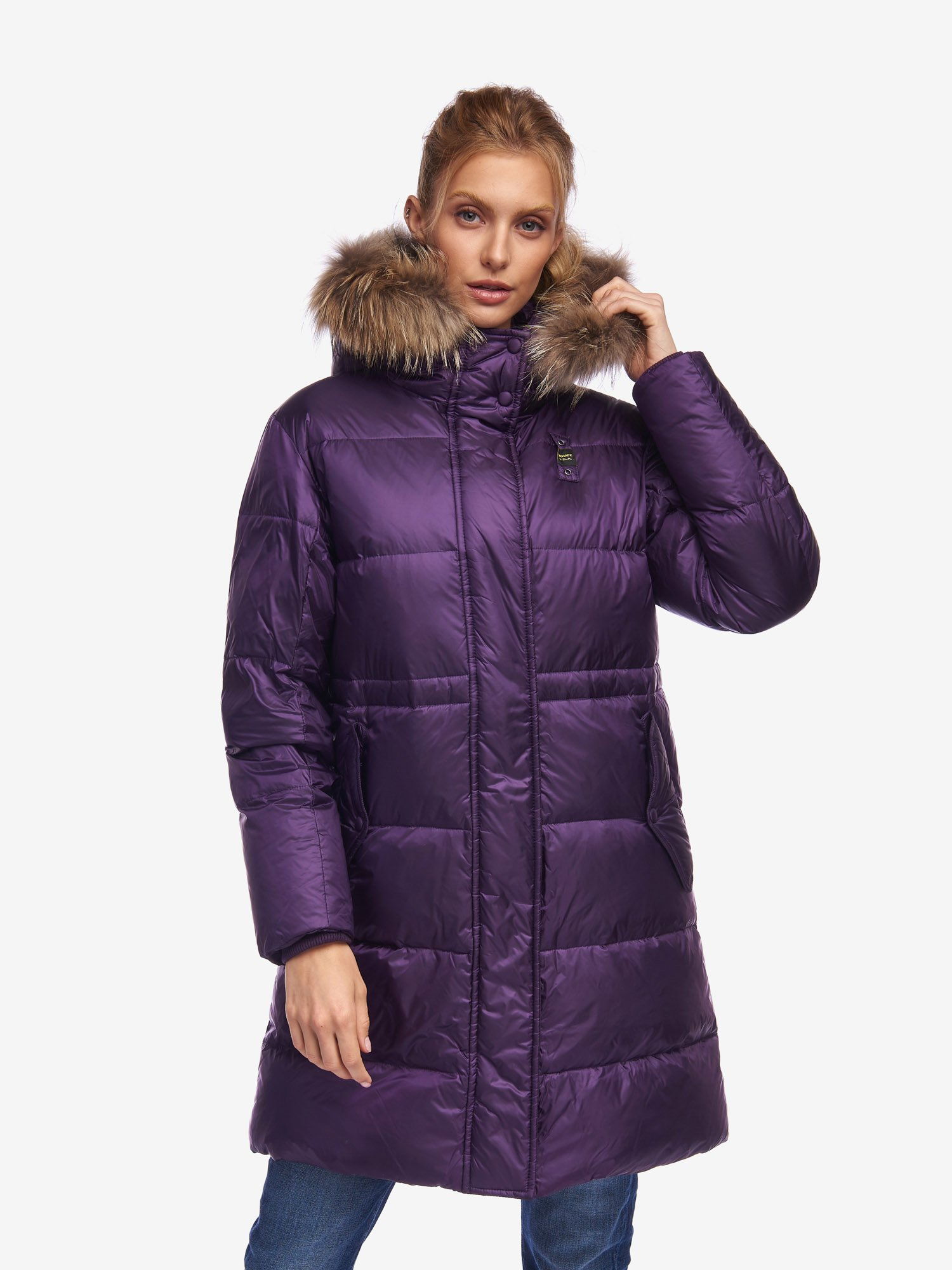 Blauer - WELLS LONG DOWN JACKET WITH FUR TRIM - Purple Panse - Blauer