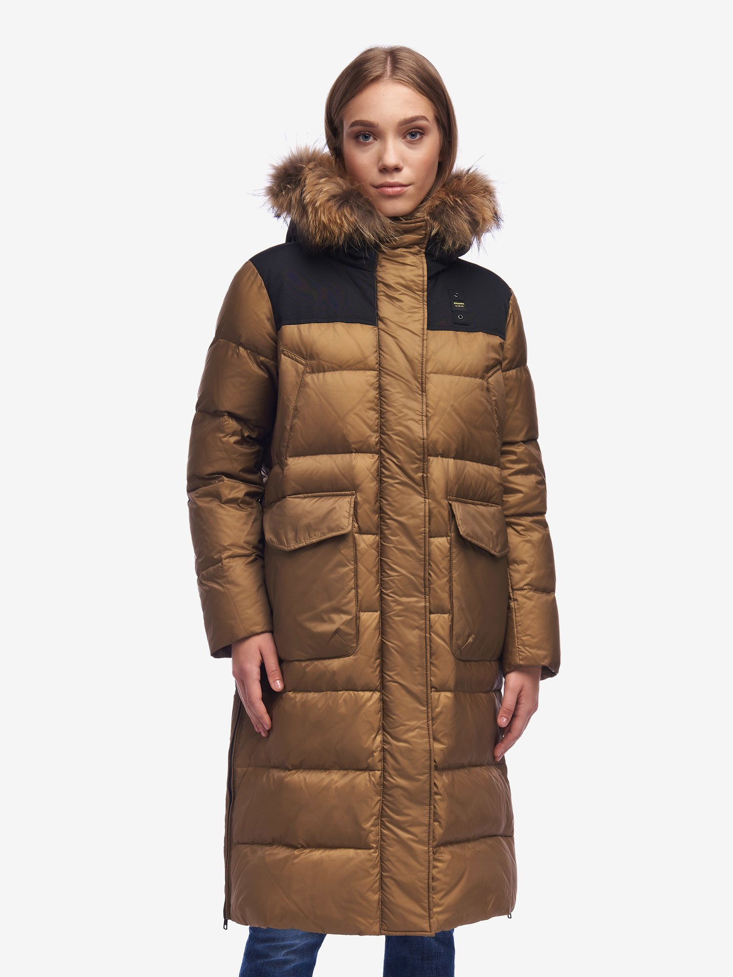 Blauer - LAWRENCE LONG DOWN JACKET WITH SIDE SLITS - Otter - Blauer