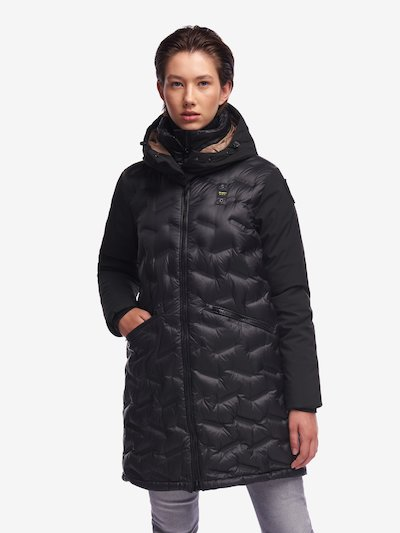 JENKINS LONG NYLON AND NEOPRENE DOWN JACKET