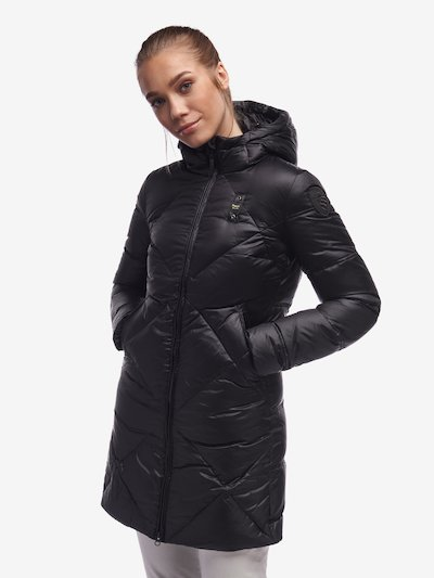 BLACK LONG DOWN JACKET IN IRIDESCENT NYLON