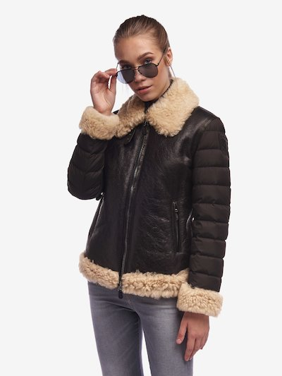 LEE VINTAGE SHEARLING LEATHER AND NYLON JACKET