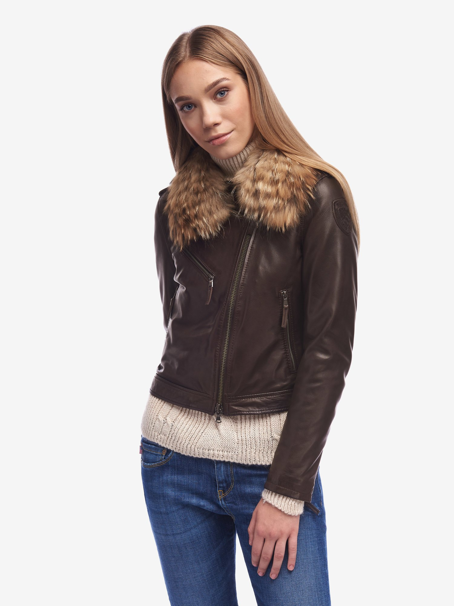 Blauer - WARD BIKER JACKET WITH FUR COLLAR - Buffalo - Blauer