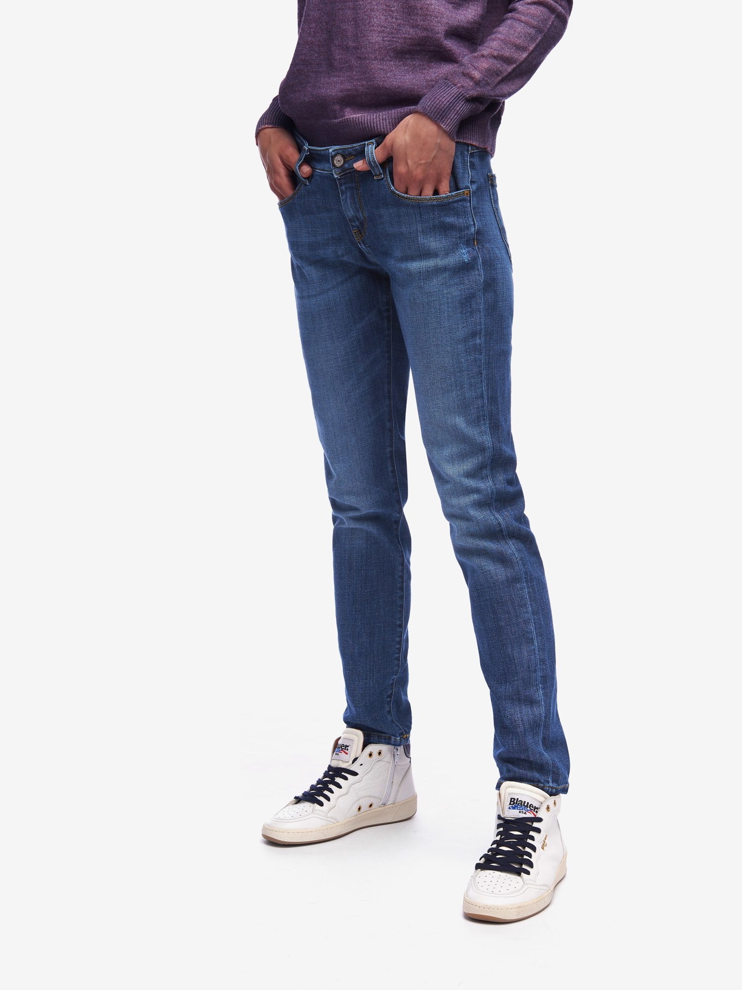 Blauer - VAQUERO OLD USED CINCO BOLSILLOS - Stone Washed Ripped - Blauer
