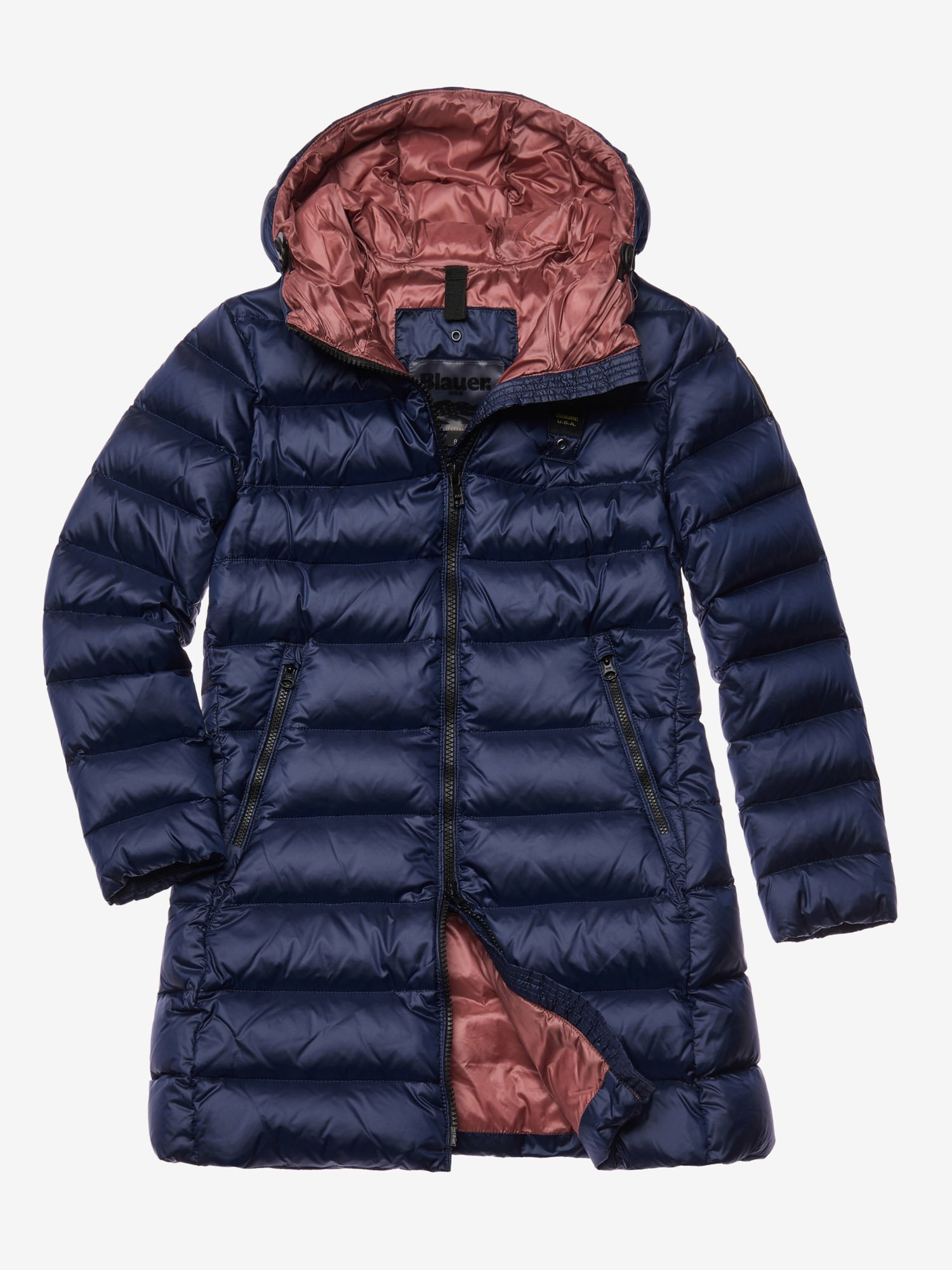 Blauer - BAXTER LONG DOWN JACKET WITH HOOD - Blue Ins. Dusty Pink - Blauer