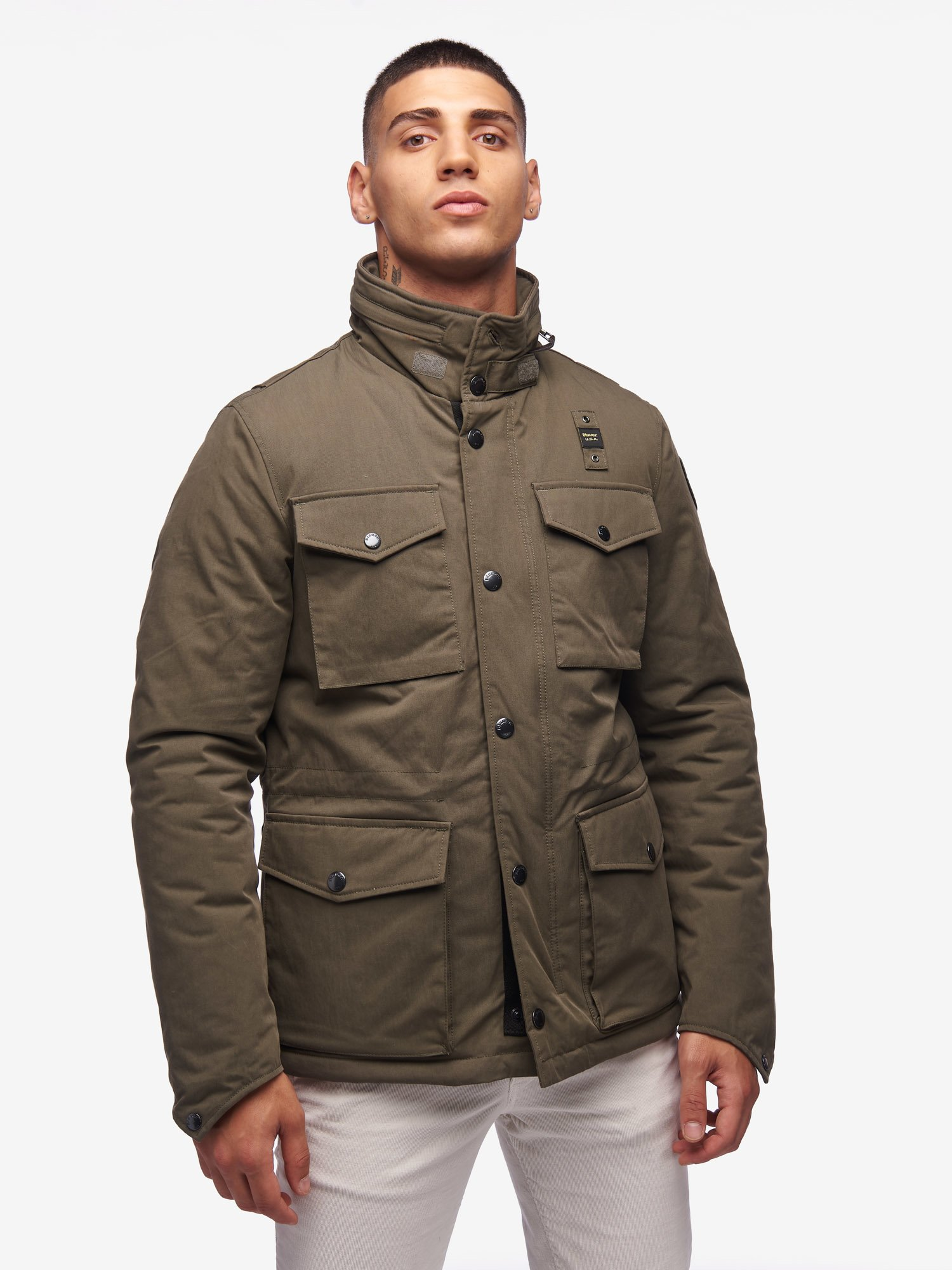 GRAY MILITARY FIELD JACKET IN GABARDINE - Blauer