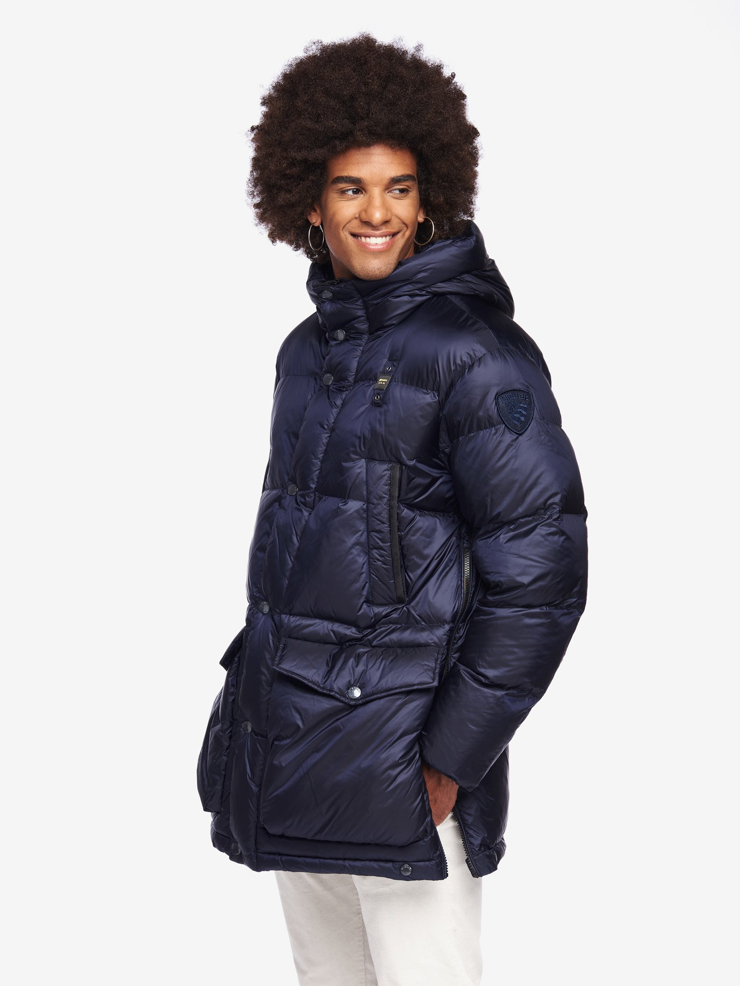 Blauer - REID LONG NYLON DOWN JACKET - blue - Blauer