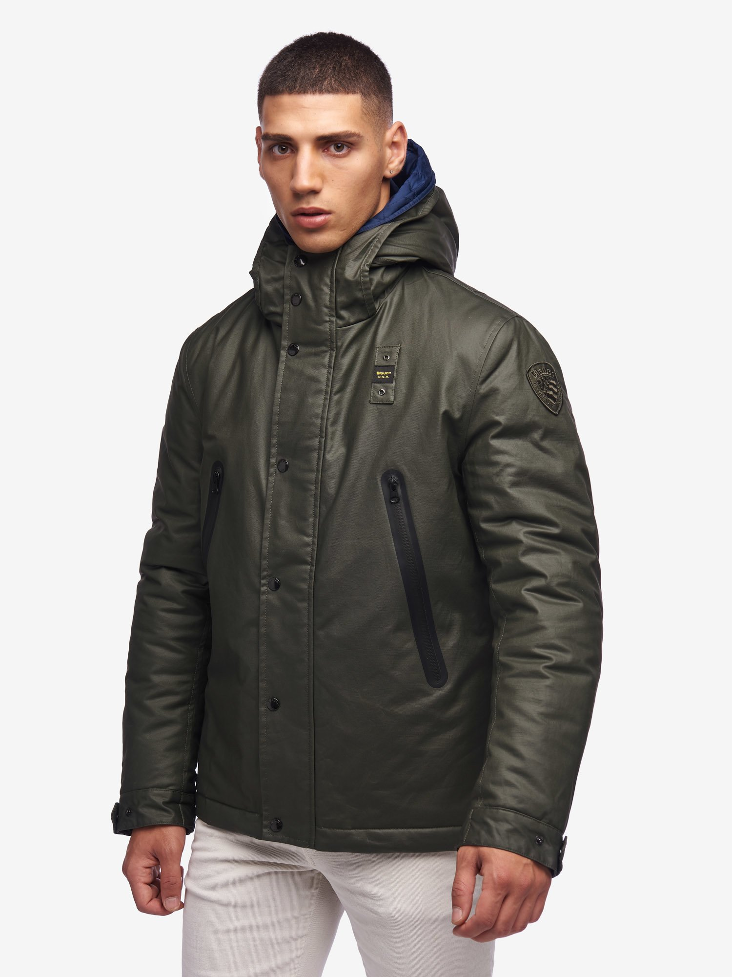 MASON COTTON AND NYLON PADDED JACKET - Blauer