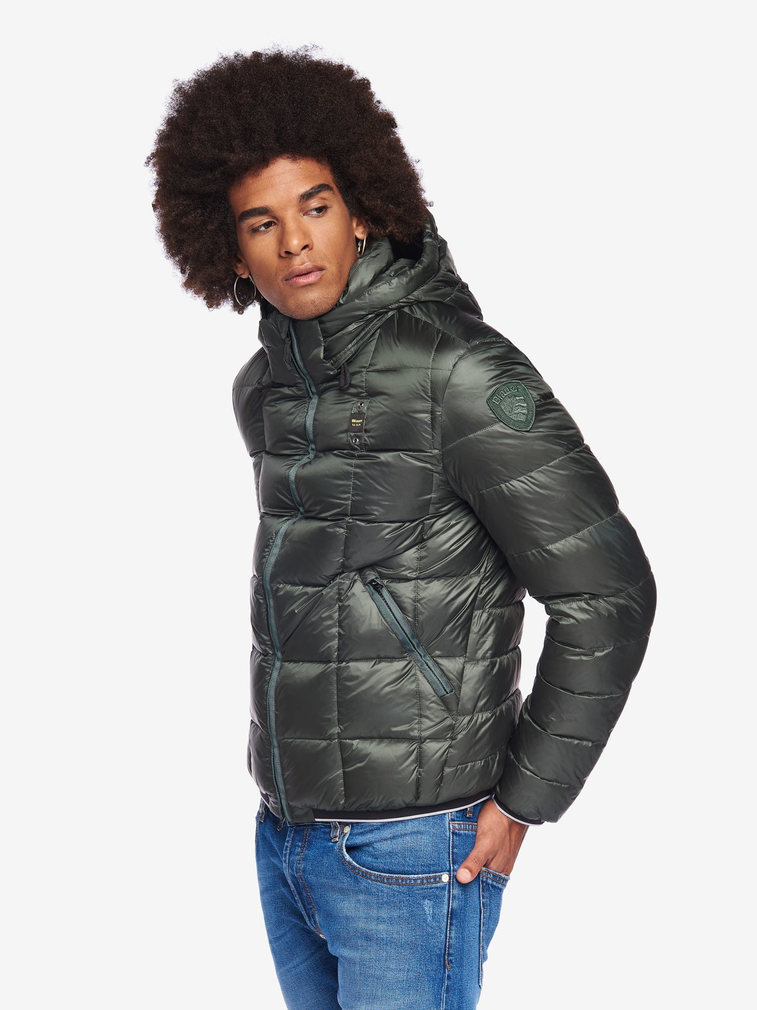 BARNES DOWN JACKET WITH DETACHABLE HOOD - Blauer