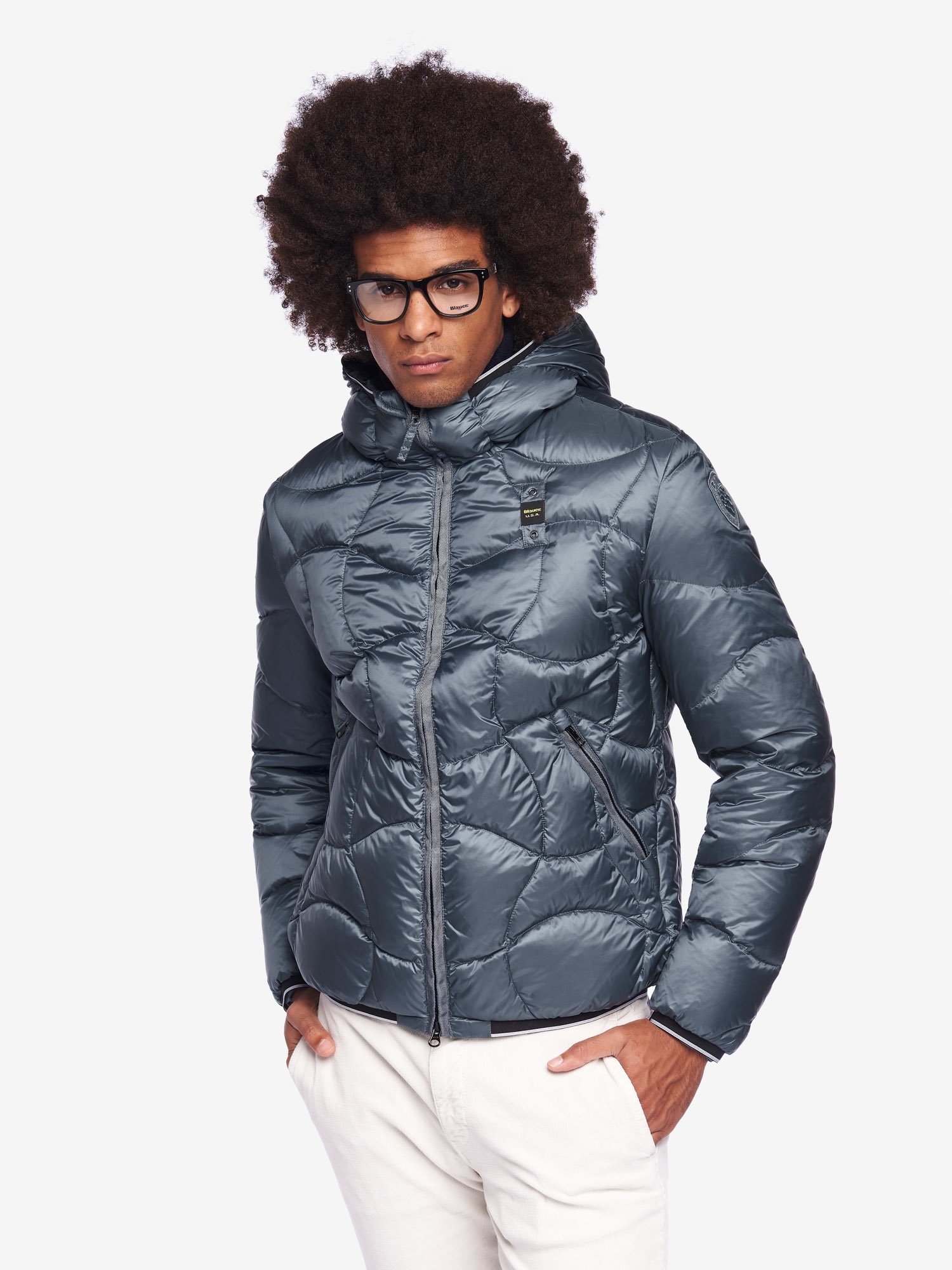 Blauer - PEARSON DOWN JACKET WITH HOOD - GreyGreen - Blauer