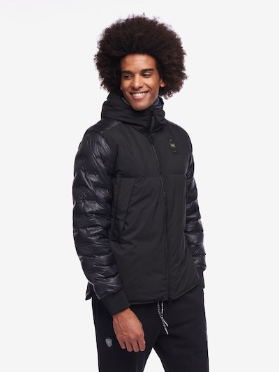 HAMILTON NYLON AND NEOPRENE DOWN JACKET WITH HOOD
