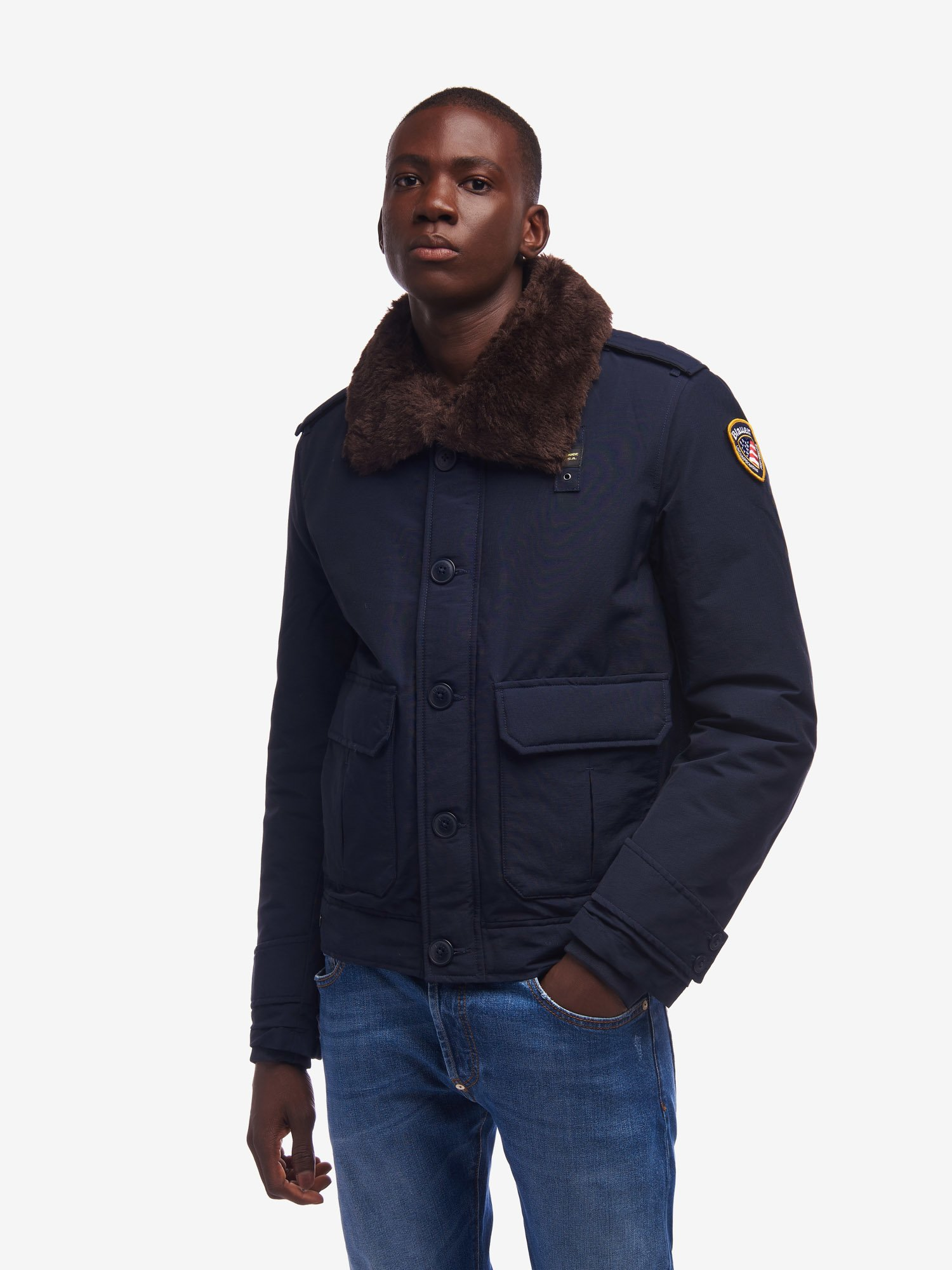 STONE POLICE JACKET WITH ECO-FUR COLLAR - Blauer